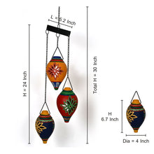Load image into Gallery viewer, Terracotta Handpainted Multicolored Hanging Shankh Tea Light Set Of 3