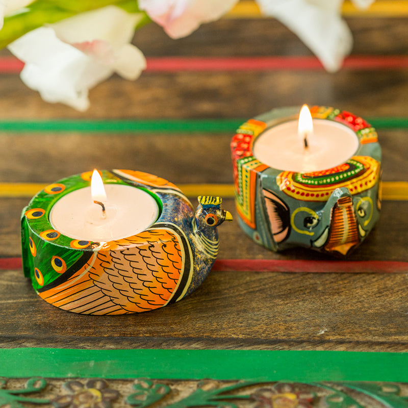 Handmade & Hand-Painted Elephant & Peacock Tea-Light Holder In Wood