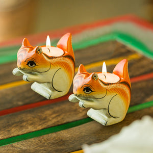 Handmade & Hand-Painted Squirrel Tea-Light Holder Set In Wood