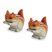 Load image into Gallery viewer, Handmade & Hand-Painted Squirrel Tea-Light Holder Set In Wood
