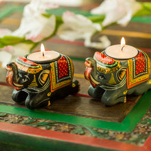 Load image into Gallery viewer, Handmade & Hand-Painted Elephant Tea-Light Holder Set In Wood