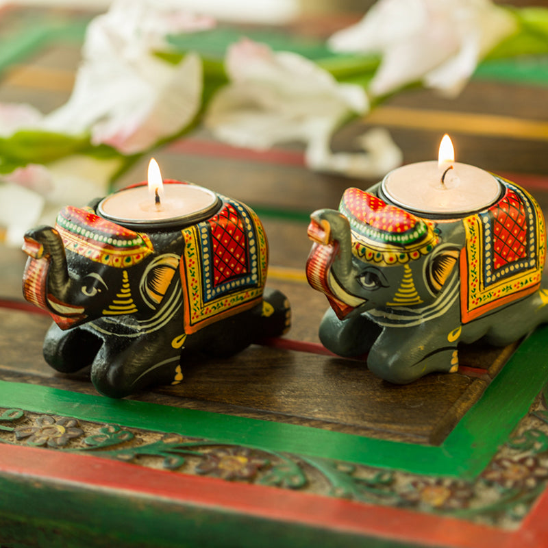 Handmade & Hand-Painted Elephant Tea-Light Holder Set In Wood