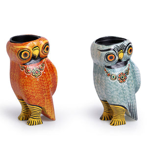 Handmade & Hand-Painted Owl Tea-Light Holder Set In Wood