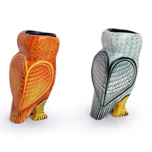 Load image into Gallery viewer, Handmade & Hand-Painted Owl Tea-Light Holder Set In Wood