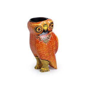 Handmade & Hand-Painted Owl Tea-Light Holder In Wood
