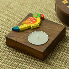 Load image into Gallery viewer, Hand-Painted Parrot Tea-Light Holder In Sheesham Wood