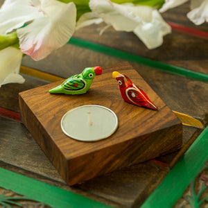 Hand-Painted Parrots Tea-Light Holder In Sheesham Wood