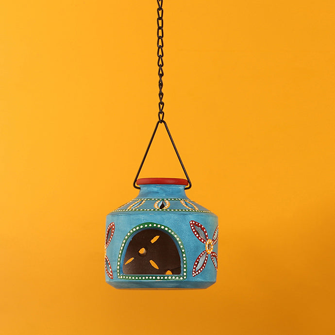 'The Glowing Matki' Terracotta Hanging Tea-Light Holder In Azure Blue