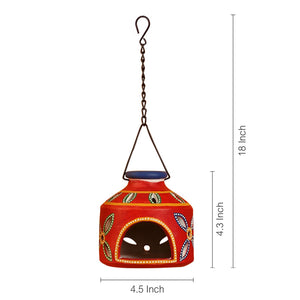 'The Glowing Matki' Terracotta Hanging Tea-Light Holder In Crimson Red
