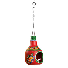 Load image into Gallery viewer, 'The Earthern Bottle' Terracotta Hanging Tea-Light Holder In Crimson Red