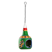 Load image into Gallery viewer, 'The Earthern Bottle' Terracotta Hanging Tea-Light Holder In Dark Green