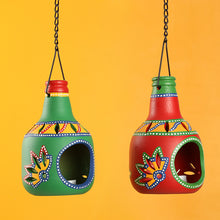 Load image into Gallery viewer, 'Bottle In Duet' Terracotta Hanging Tea-Light Holders (Set Of 2)