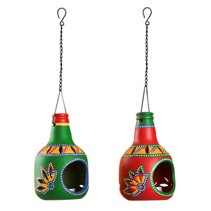 'Bottle In Duet' Terracotta Hanging Tea-Light Holders (Set Of 2)