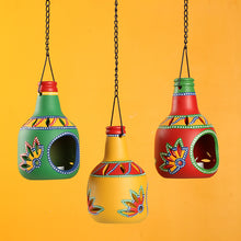 Load image into Gallery viewer, 'The Bottle Trio' Terracotta Hanging Tea-Light Holders (Set Of 3)