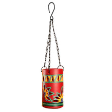Load image into Gallery viewer, 'Dabba Light' Terracotta Hanging Tea-Light Holder In Crimson Red