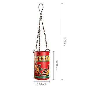 'Dabba Light' Terracotta Hanging Tea-Light Holder In Crimson Red