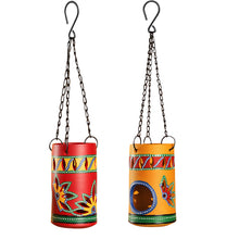 Load image into Gallery viewer, 'Two-Dabbas Of Light' Terracotta Hanging Tea-Light Holders (Set Of 2)