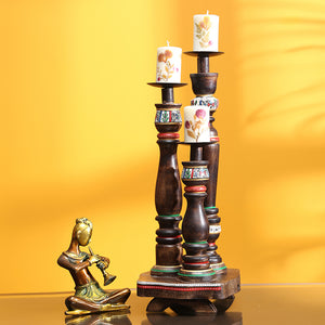 'Candle Minarets' Warli Hand-Painted Candle Holders In Wood