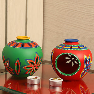 'Light In Matkis' Hand-Painted Tea-Light Holders In Terracotta (Set Of 2)