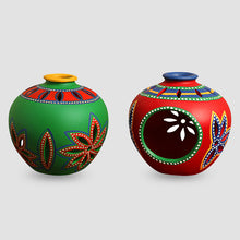 Load image into Gallery viewer, 'Light In Matkis' Hand-Painted Tea-Light Holders In Terracotta (Set Of 2)