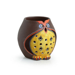 'Owl Carved' Terracotta Tea Light Holder