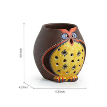 Load image into Gallery viewer, 'Owl Carved' Terracotta Tea Light Holder