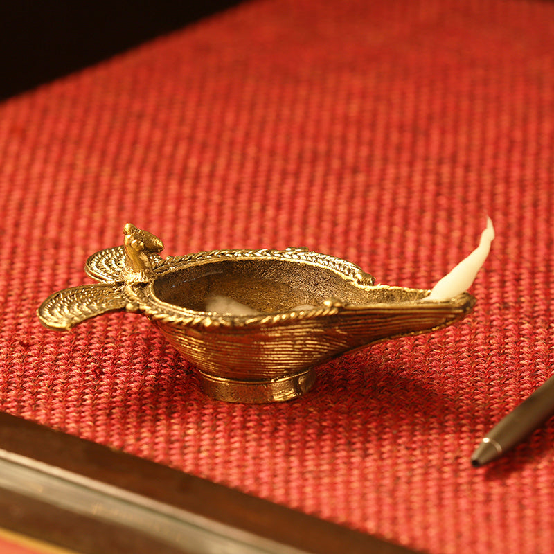 'Shimmering Diya' Handmade Brass Showpiece In Dhokra Art