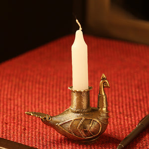 'Glowing Peacock'Handmade Brass Candle Holder In Dhokra Art