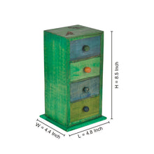 Load image into Gallery viewer, Multicolured Wooden Chest Drawers With Parrot Carving