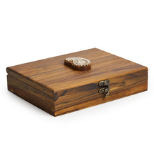 Load image into Gallery viewer, Paisley Block jewellery Box With 9 Sections In Teak Wood