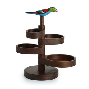 Bird Multi-utility Knick Knack Cum Jewellery Organizer Tray In Sheesham Wood