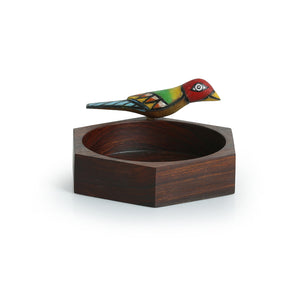 Hexagonal Multi-utility Knick Knack Bird Organizer Tray In Sheesham Wood