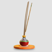 Load image into Gallery viewer, 'Aromas In A Matki' Terracotta Warli Incense Stick Holder With Wooden Tray