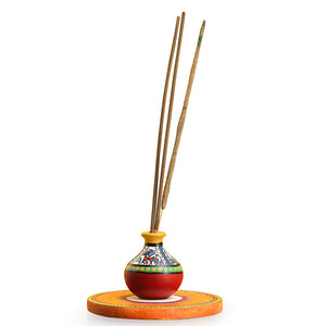 'Aromas In A Matki' Terracotta Warli Incense Stick Holder With Wooden Tray