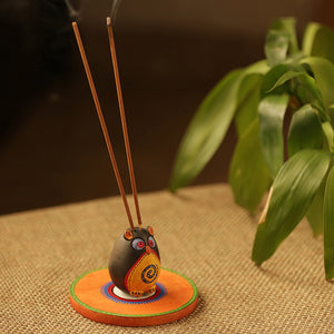 'Owl Shaped' Terracotta Incense Stick Holder With Tray (2 Sticks Holder)
