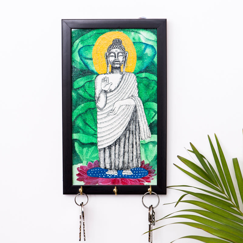 Lord Buddha Canvas Handpainted Key Holder