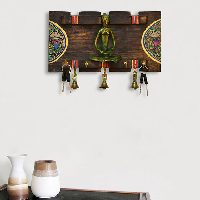 Dhokra & Madhubani Handpainted Horizontal Wooden Key Holder