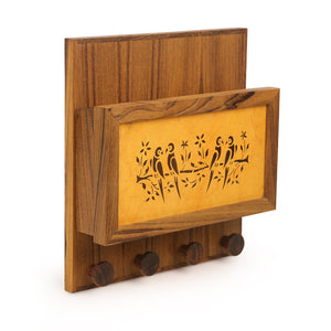 Teak Wood Sanjhi Work Key Holder With Paper Stand