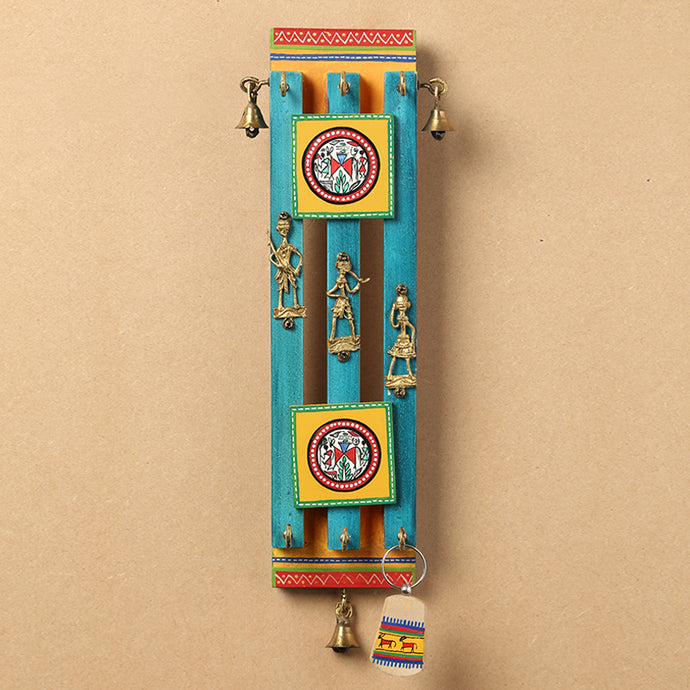 Ocean Blue Handpainted Wooden Key Holder With Warli & Dhokra Art