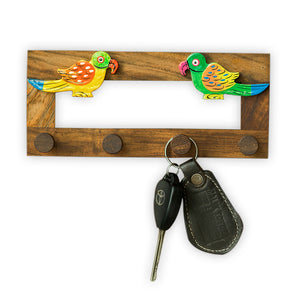 Hand-Painted Parrots Key Holder In Sheesham Wood