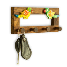 Load image into Gallery viewer, Hand-Painted Parrots Key Holder In Sheesham Wood