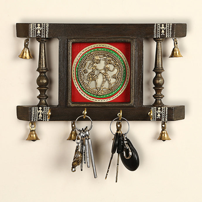 'Brass People On Teak Wood' Warli Hand-Painted Key Holder With Dhokra Art (4 Hooks)