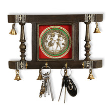 Load image into Gallery viewer, 'Brass People On Teak Wood' Warli Hand-Painted Key Holder With Dhokra Art (4 Hooks)