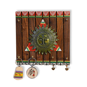 'The Sun Centre' Warli Hand-Painted Teak Wood Key Holder With Dhokra Art (6 Hooks)