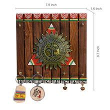 Load image into Gallery viewer, 'The Sun Centre' Warli Hand-Painted Teak Wood Key Holder With Dhokra Art (6 Hooks)