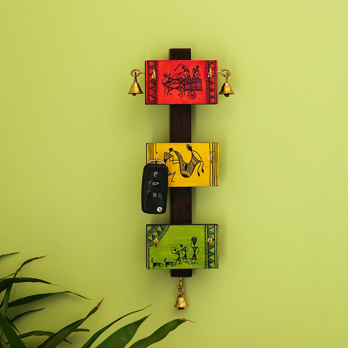 'Panels Of Paintings' Warli Hand-Painted Key Holder In Pine & Teak Wood (6 Hooks)