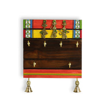 Load image into Gallery viewer, 'Tribal Borders' Warli Hand-Painted Dhokra Key Holder In Sheesham Wood (6 Hooks)