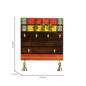'Tribal Borders' Warli Hand-Painted Dhokra Key Holder In Sheesham Wood (6 Hooks)