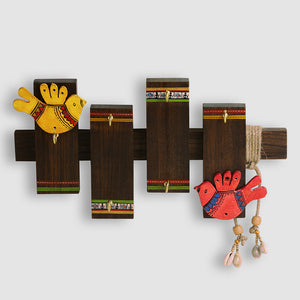 'Birds On Planks' Warli Hand-Painted Key Holder In Sheesham Wood (6 Hooks)