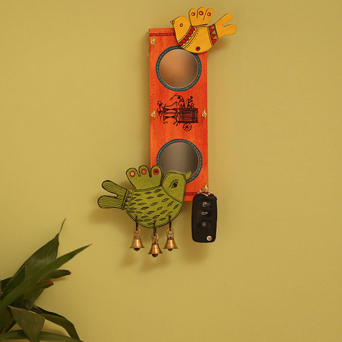 'Chirping Birds' Key Holder With Mirrors Handmade In Wood